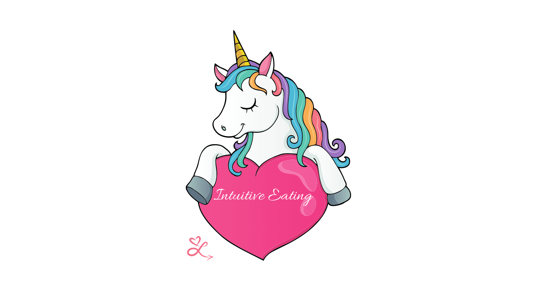 """A mythical creature holding a heart with """"intuitive eating"""" written on it to represent the myths of IE."""